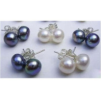 Wholesale price pair AAA MM White Black Akoya Pearl Earring K Gold