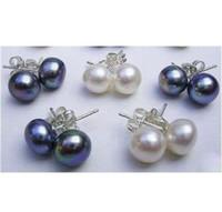 Wholesale price pair AAA MM White Black Akoya Pearl Earring K Gold