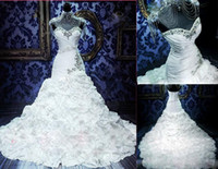 Wholesale Designer Mermaid Pleat Long Cathedral Train Hand Made Flower Sweetheart Crystal Wedding Dresses