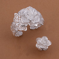 Wholesale 925 sterling silver Big Flower Bracelet Ring set s449 NEW Jewelry