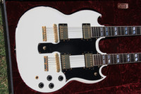 Left - Handed White Solid Body best china guitar Deluxe Model Double Neck 12 6 Star Custom Shop Electric Guitar (SKU #1396)