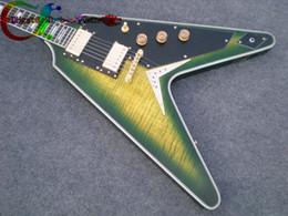 Voler v en Ligne-Date Custom Shop Flying V Electric Guitar Burst vert Livraison gratuite Acajou