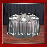 round table - Hot Sale Silver Shaped Poly Satin Table Cloth Wedding Meeting Party Round Tablecloths Table Linen quot Round