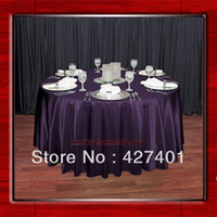 Wholesale Plum quot Round Shaped Poly Satin Table Cloth Banquet Tablecloths Table Linen For Wedding Party Decorating