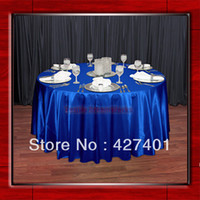 wedding table cloths - Hot Sale Royal Blue Shaped Poly Satin Table Cloth Wedding Meeting Party Round Tablecloths Table Linen quot Round