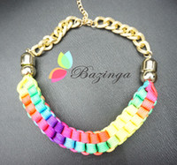 Wholesale Summer New Arrival Bohemian Rainbow Color Fabric Twist Collar Necklaces Statement Necklaces Women Colorful Accessories freeshipping