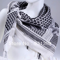 Wholesale Arab Style Cotton Shemagh Square Scarf Wrap Pashmina for Unisex Black amp White