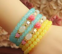 Wholesale Blue Yellow Beaded Bracelet Fashion Jewelry Flower Bead Agate Ball Luckly Bangle Wedding Bracelets Stretch Strands