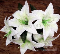 artificial leaves - 100pcs Single Head Lily Flower with Leave and Stem Wedding Decorative Fabric Lilies Artificial Silk Flowers