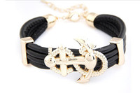 anklet cuff - 2013 Luxury women girl Bohemia Cuff Rudder Anchor Multilayer leather alloy wide bracelet bangle wristband charm bracelets anklets jewelry