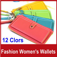 Wholesale 10pcs Women s Wallet Clutch Bags Ms Purse Lady Handbag Fashion PU Leather Tote Hand Bag Bank Card Holder Colors