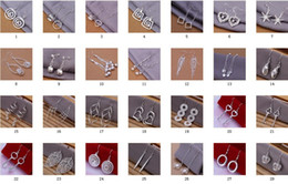 Mix 56 Styles 50Pairs lot Fashion 925 Silver Cute Ladies Dangle Earrings Multi Choices Earrings Mixed