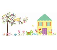 al por mayor búho etiqueta de la pared de desplazamiento-Búho Scroll Árbol + Casa Amarilla pared removible pegatinas / Cartoon Pared Sticker Decal Para Sala Infantil Decoración / 130 * 170cm , envío libre