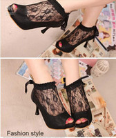 Wholesale 2013 Ladies Spring New Korean Sweet Lace Toe Open High Heel Sandals Hollow Bow Women Shoes Apricot Black EUR Size Gorgeous