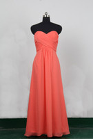 Wholesale Really Cheap Charms Real Sample Sweetheart Sheath Floor Length Long Sexy Chiffon Formal Coral Prom Dresses Bridesmaid Dresses Sexy