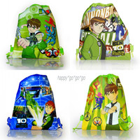 Wholesale 12Pcs BEN Alien Force kids Cartoon Drawstring Backpack Kids School Bags Handbags Mixed Designs Non woven34 CM