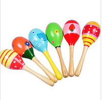 Wholesale Wooden Maracas Sand Hammer Preschool toys Baby Toddler Toys Cartoon Color Pattern