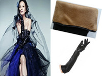 Wholesale Newest High Quality Womens Faux Leather Plus Velvet Long Winter Gloves Fur Lined With Tracking Number