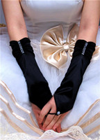 Wholesale Beige Fingerless Pleated Elbow Length Satin Gloves Ivory White Red Wedding Gloves Bridal Gloves party Gloves Opera Gloves LC7087