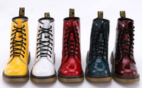 Wholesale High Quality Womens Mens Unisex Short Martin Boots Patent Leather Glossy Low Heel Solid Color Eyelets Boots PR A4