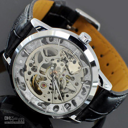 Wholesale Unique Design Men Silver Gold Skeleton Automatic Wristwatches Black Leather Strap Fashion Dress Accessory Grooms Wedding Mechanical Watch
