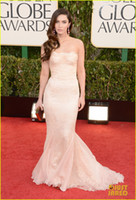 A-Line Classic Lace 2013 70th Golden Globe awards Red Carpet Celebrity Dresses Megan Fox Pageant Gowns Lace satin Floor Length Strapless Sleeveless dhyz 03