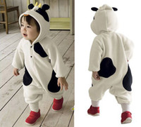 Unisex Winter polar fleece Very Cute 1-layer Baby Animal Cow rompers pyjamas jumpers toddler romper bodysuit sleepwear sleeping bag
