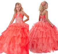 Wholesale Little Flower Girl Ball Gown Halter Orange Sequins Beaded Ruffles Organza Sweep Train Girl s Formal Occasion Pageant Dresses RG