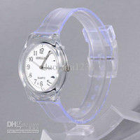 Analog Plastic  Best Plastic Cement Watchband Wrist Watch wat2040-Transparent