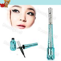 Waterproof Pencil Eyeliner 20 pcs lot Fashion Makeup Cosmetic Black Eyeliner Eye Liner Pen Dipliner Liquid Tips Blue Bottle Free Shipping 6545