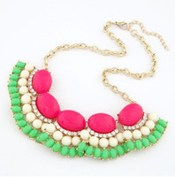 Wholesale Fashion Fluorescent Color Bead Resin Collar Bubble Bib Statement Necklace bling Rhinestone SF