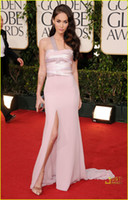A-Line Classic Lace Celebrity Gowns 2013 70th Golden Globe awards Red Carpet Celebrity Dresses Megan Fox Chiffon Sequin Floor Length Peach Evening Gown dhyz 03