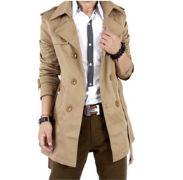 Wholesale 2013 spring men s fashion casual double breasted Trench Coats