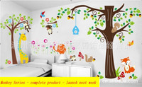 Wholesale X56cm X22inch Monkey Forest Removable Wall sticker Decal Baby Nursery Wall Decor Kids Room ZY1202 A limited edition gift