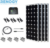 Wholesale Mono Complete Kit W PC W Solar Panel Charge controller Z Bracket Branch Connectors MC5 Cable