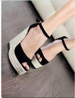 Wholesale NEW summer women girl Elegant fashion open toe button straw braid wedges platform velvet platform sandals D