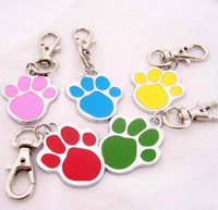 Wholesale new High Quality pc dog paw color Alloy Pet Dog Cat ID Card Tags Necklace ornaments Keychain by epacket