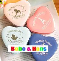 Wholesale New fashion Heart shaped secret Tin box tea case clip holder