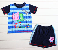 Wholesale Boys T T T T T Peppa Pig amp George Pig with Dinosaur Striped Short Sleeve T Shirt amp Shorts piece Set Cartoon Children Summer Suits