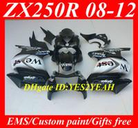 Wholesale Motorcycle Fairing kit for KAWASAKI Ninja ZX250R ZX R EX250 WEST White black Fairings set KH83