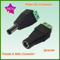 Wholesale Retail pairs DC Female male Connector For SMD LED Strip Light or AC Adapter Plug Cable Connector for CCTV Camera