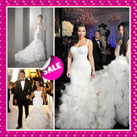 Wholesale Kim kardashian Inspired Sweetheart Shoulder Straps Luxury Ruffles Sexy Mermaid Chapel Train Summer Fall Beach Celebrity Wedding Dresses
