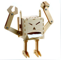 Wholesale Creative Wood DIY Assembled Funny Face Robot Tissue Box Individuality Eco Tissue Box For Gift Toys Tissue Box