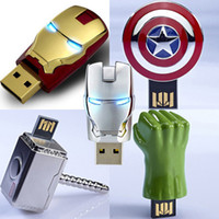 Wholesale Real GB GB GB GB Avengers Ironman War Machine Captain America Thor Hulk USB Flash Drives amp Storage Memory Stick Pen Drive Gift Box