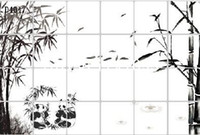 Wholesale High grade Oil Proofing Kitchen Stickers Wall Stickers With Ink Painting Bamboo D404