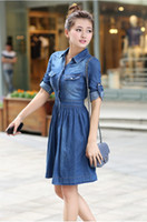 Wholesale Hot Sell Vintage Blue Denim Dress Women Half Sleeve Casual Pleat Jeans Pocket Mid Calf Dress S XL