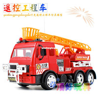 Cheap free shipping Remote control engineering fire truck ladder model toy RC police car best gift to kid