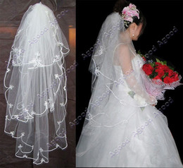 Wholesale 10pcs New fashion long Three Layers Flower Wedding Bridal Veil Bridal Beads Colors
