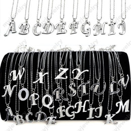 Wholesale 30 Off INITIAL LETTER NAME PENDANT NECKLACE SILVER PLATED CRYSTAL ON quot CHAIN NECKLACE NEW FASHION JN080011