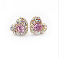 artificial diamond earrings - 2013 New Trendy Romantic Women Gold Plated Heart Stud Earring for Women Ladies with Colorful Artificial Diamond Hot